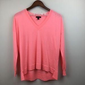 J. CREW Merino Wool Pink V-Neck Boyfriend Sweater